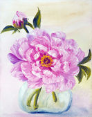 Peony in vase, oil painting on canvas — Stock fotografie
