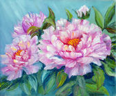 Peonies, oil painting on canvas — 图库照片