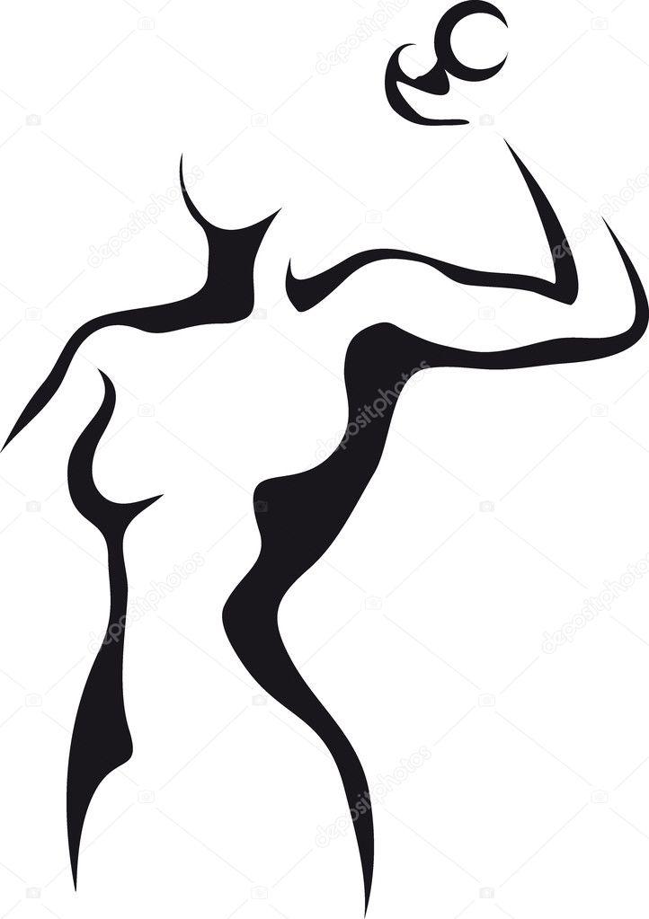 哑铃的女人的剪影— 矢量图片作者