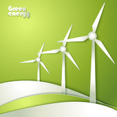 Group of Windmills silhouettes on green background. — Stock Vector