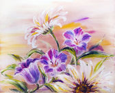 Wildflowers, oil painting on canvas — Stock Photo
