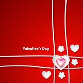 Cartolina di San Valentino su sfondo rosso — Vettoriale Stock