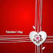 Valentine's Day Greeting Card on red background — Stock Vector
