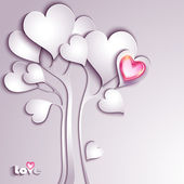 Paper tree with hearts — Stock Vector