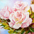 Beautiful Roses, oil painting on canvas — Stock fotografie