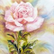 Stock Photo: Beautiful Rose, oil painting on canvas