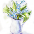 Lilies of the valley in jug. Watercolor painting. — Stock Photo #40596271