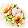 Spring flowers with heart. Watercolor painting. — Stock Photo #40596275