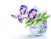 Lentebloemen in vaas, aquarel illustratie — Stockfoto