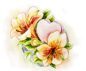 Spring flowers with heart. Watercolor painting. — Stockfoto