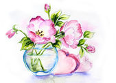 Spring flowers in vase, watercolor painting — Stock Photo