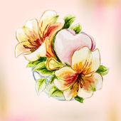 Aquarela Primavera flores no vaso. cartão de felicitações. — Vetor de Stock
