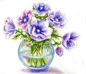 Spring flowers in vase, watercolor illustration — Stock Photo