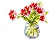 春天的花在花瓶里,水彩插图 — 图库照片