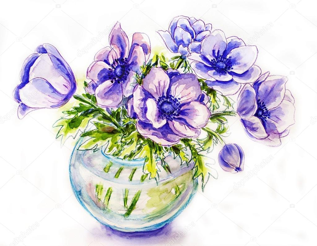 Spring flowers in vase watercolor illustration stock for Spring flowers watercolor