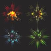 Set of Vector glowing light effect stars — Stock Vector