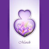Spring flowers invitation template card. — Stockvektor
