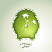 Spring Green alarm clock with flowers — Stock Photo