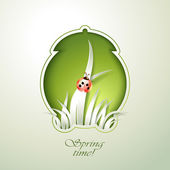 Spring Green alarm clock with grass — Stock Photo