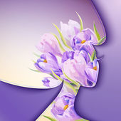 Beautiful young woman with flowers in hair — Vector de stock