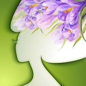 Beautiful young woman with flowers in hair — Stock Vector