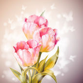 Tulips flowers background.  — Stockvector