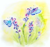 Painted watercolor card with summer lavender flowers and butterflies — Stock Photo