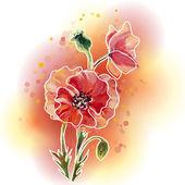 Poppies. Summer flowers invitation template card — Stok Vektör