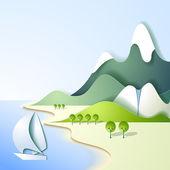 Papper bergslandskap — Stockvektor
