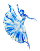 Oil painting on Canvas, Blue ballerina — Stock Photo
