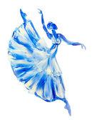 Oil painting on Canvas, Blue ballerina — Foto Stock