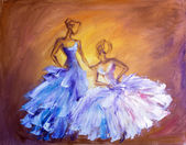 Two beautiful women at the ball. Oil painting. — Stock Photo