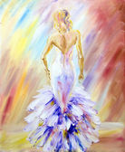Beautiful woman at the ball. Oil painting. — Stock Photo