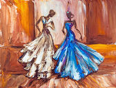 Two beautiful women at the ball. Oil painting. — ストック写真