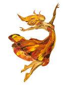 Oil painting on Canvas, Fire ballerina — Foto Stock