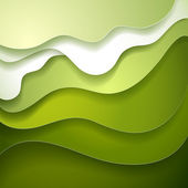 Abstract green wave paper background — Stock Vector
