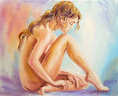 Beautiful woman at the morning. Oil painting. — Stock Photo