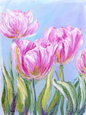Pink tulips, oil painting on canvas — Stock Photo