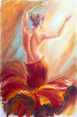 Beautiful dancing woman in red. Oil painting. — Stock Photo