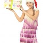 hermosa chica muestra un regalo envuelto — Foto de Stock   #17651077