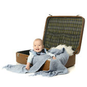 Baby in a suitcase — Stock Photo