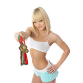 Athletic blonde girl — Stock Photo
