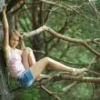 Girl sitting in a tree — Stock Photo