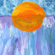 Children's painting: Sunset on the lake — Stock Photo