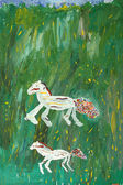 Children's drawing paints: horses in a meadow — Stock Photo