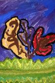 Children's painting: trees — Stock Photo