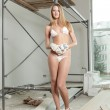 A nice simple girl in a white bikini on the construction site - Stock Photo