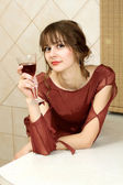 The usual quiet and natural girl with wine at home — Stock Photo