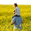 Father with son in a yellow field — Stock Photo #26132139