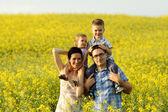 Happy family of four in a field — Stockfoto